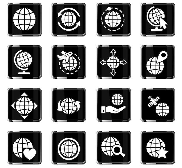 Icônes web de globes pour la conception d'interface utilisateur