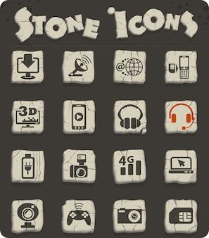 Icônes web de haute technologie pour la conception d'interface utilisateur