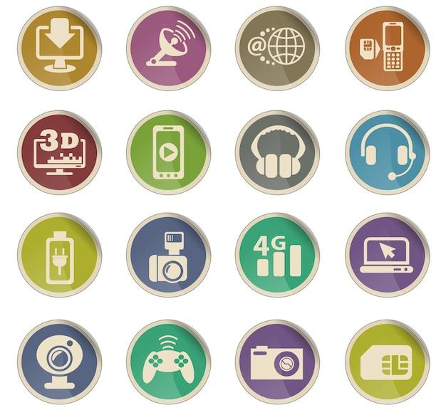 Icônes web de haute technologie sous forme d'étiquettes en papier rondes