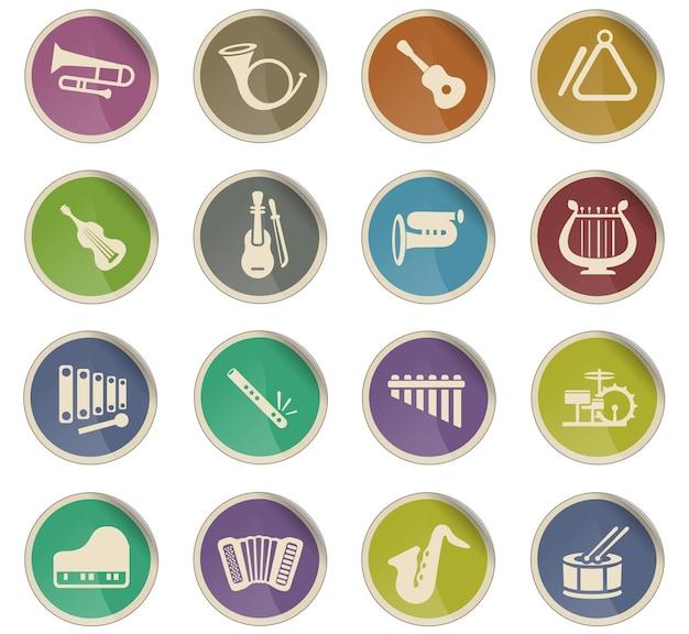 Icônes web d'instruments de musique sous forme d'étiquettes en papier rondes