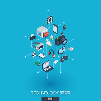 Icônes web intégrées de technologie. concept d'interaction isométrique de réseau numérique. système graphique point et ligne connecté. contexte avec impression sans fil et réalité virtuelle. infographie