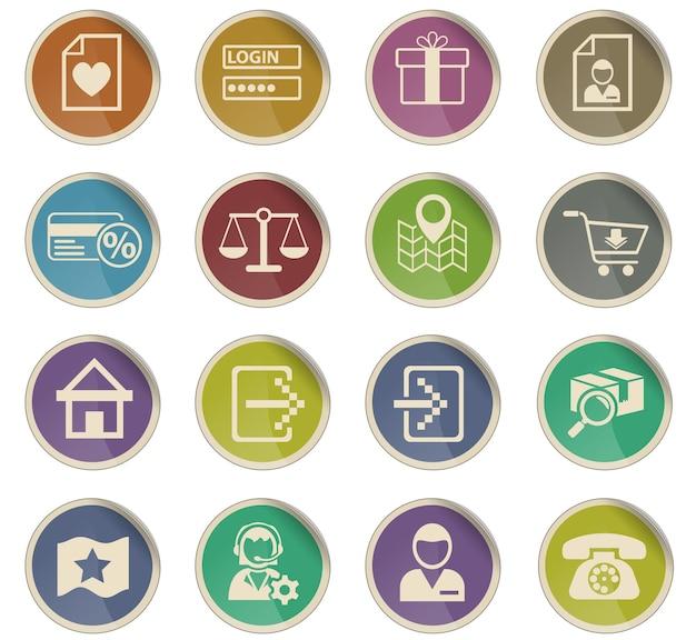 Icônes web d'interface de commerce électronique sous forme d'étiquettes en papier rondes