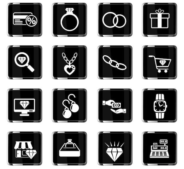 Icônes web de magasin de bijoux pour la conception d'interface utilisateur