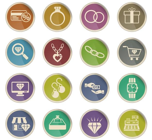 Icônes web de magasin de bijoux sous forme d'étiquettes en papier rondes
