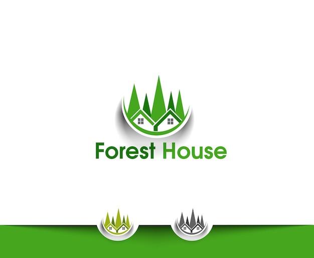 Icônes web de la maison forestière et logo vectoriel