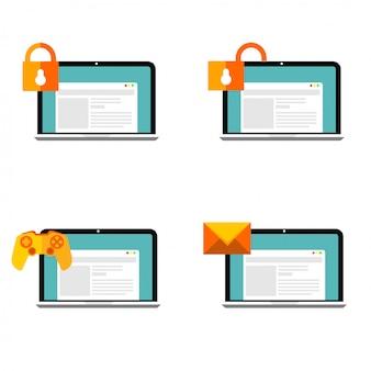 Icônes web mis design plat prêt à utiliser