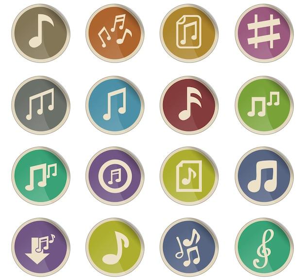 Icônes web de notes musicales sous forme d'étiquettes en papier rondes