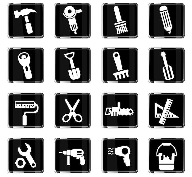 Icônes web d'outils de travail pour la conception d'interface utilisateur