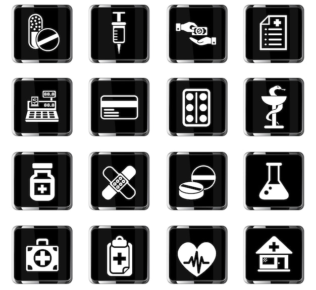 Icônes web de pharmacie pour la conception d'interface utilisateur