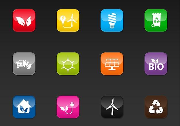 Icônes web professionnelles d'énergie alternative pour votre conception