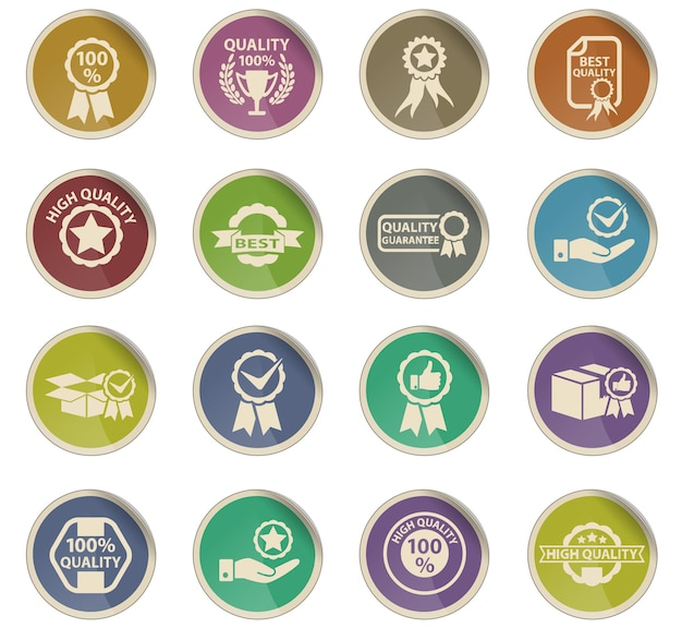 Icônes web de qualité sous forme d'étiquettes en papier rondes