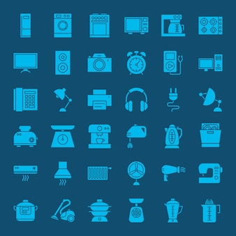 Icônes web solide ménage. ensemble vectoriel de glyphes d'électronique et de gadget.