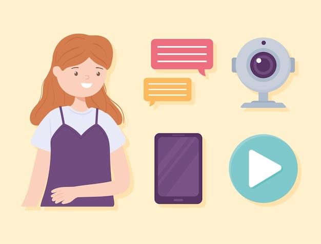Icônes de webcam fille