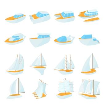 Icônes de yacht définies dans un style bande dessinée