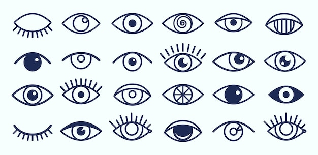 Icônes des yeux. décrire les symboles des cils et des yeux.