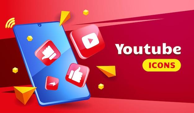 Icônes youtube 3d sophistiquées avec smartphone