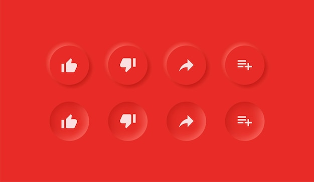 Icônes youtube dans les boutons de neumorphisme comme n'aime pas partager enregistrer les notifications conception d'interface utilisateur neumorphique