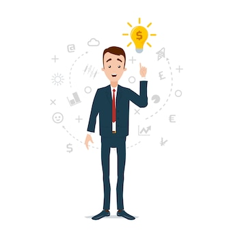 Idecame à l'homme d'affaires, l'ampoule a pris feu. nuage de pensées et d'idées