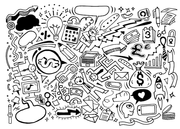 Idée d'affaires dessinés à la main doodles jeu d'icônes
