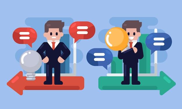 Idée d'affaires . homme d'affaires main tenant la lampe idée avec graphique, bon et mauvais cas, illustration infographique