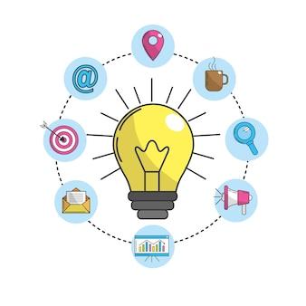 Idée d'ampoule avec des icônes de la technologie