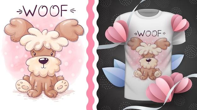 Idée animale de personnage de dessin animé enfantin de chien pour tshirt imprimé