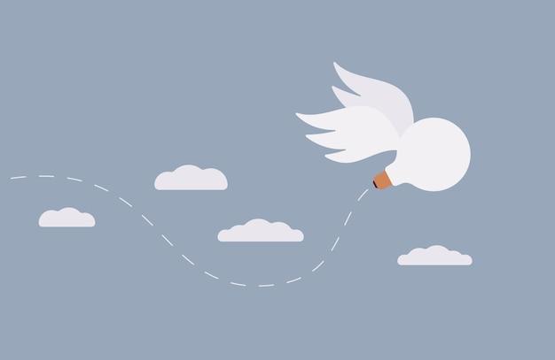Idée, le bulbe avec des ailes s'envole dans le ciel