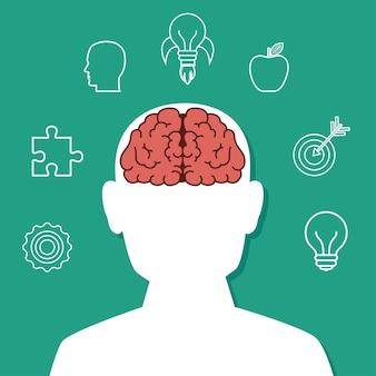 Idée de cerveau de dessin animé créatif