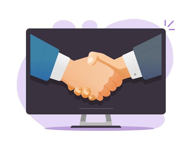 Idée de concept d'accord de partenariat internet de contrat en ligne ou accord d'homme d'affaires succès numérique réunion négociations bienvenue poignée de main