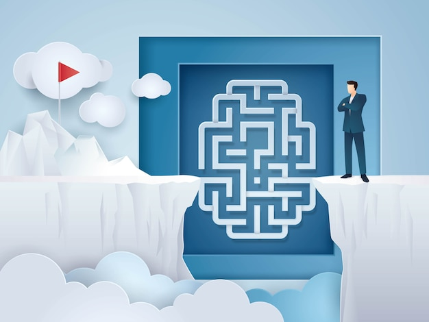 Idée de concept d'entreprise, homme d'affaires à la recherche au cerveau labyrinthe entre cliff gap mountain