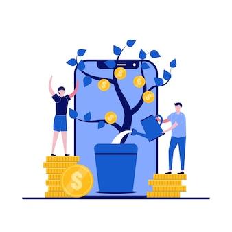 Idée de concept de revenu avec plante de caractère d'arrosage d'argent