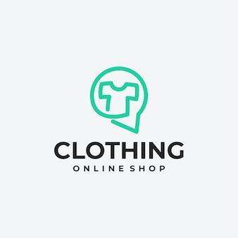 Idée de conception de logo de magasin de vêtements en ligne, logo de boutique en ligne
