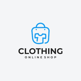 Idée de conception de logo de magasin de vêtements minimaliste, logo de boutique en ligne