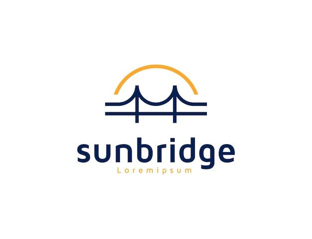 Idée de conception de logo de pont et de ligne de soleil