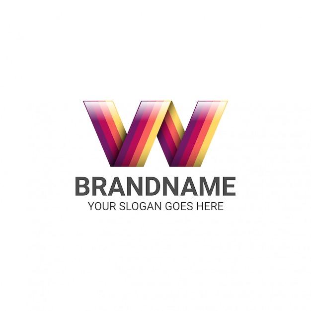 Idée de conception de modèle de dégradé de logo coloré lettre w