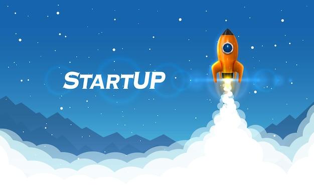 Idée créative d'art de lancement de fusée spatiale de démarrage. illustration vectorielle