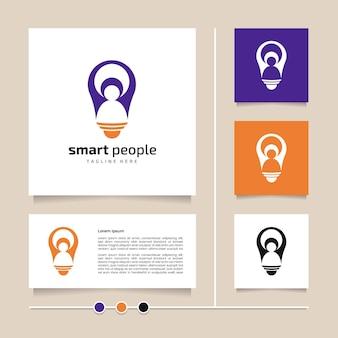 Idée créative création de logo de personnes intelligentes. icône orange bleu et vecteur de conception de symbole