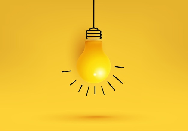 Idée créative, inspiration, avec ampoule.