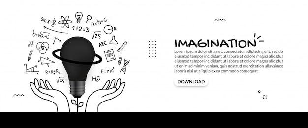 Idée créative avec main tenant le fond de l'ampoule, concept de l'éducation avec des icônes de contour