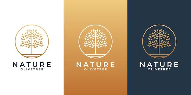 Idée créative monde nature conception de logo d'olivier pour votre salon d'affaires, spa, cosmétique, station balnéaire,