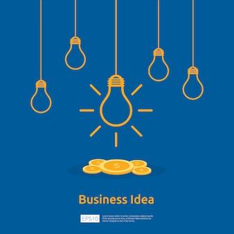 Idée d'entreprise avec ampoule et objet de pièce de monnaie dollar.
