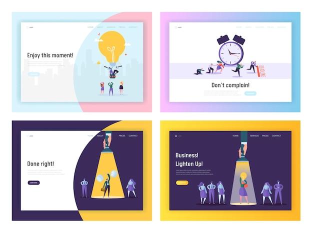 Idée d'entreprise, date limite, ensemble de modèles de page de destination de site web de réussite.