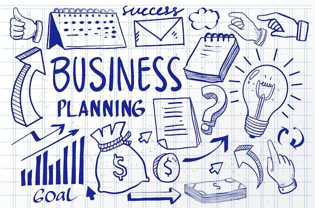 Idée d'entreprise doodles jeu d'icônes. illustration vectorielle. isolé sur fond blanc.