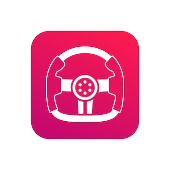 Idée d'icône d'application d'icône d'école de conduite professionnelle avec la couleur rouge du symbole du volant de course