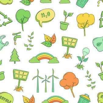 Idée d'icônes écologie modèle sans couture avec style dessiné à la main