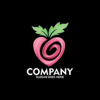 Idée de logo de nature d'amour, création de logo de nature de fruit