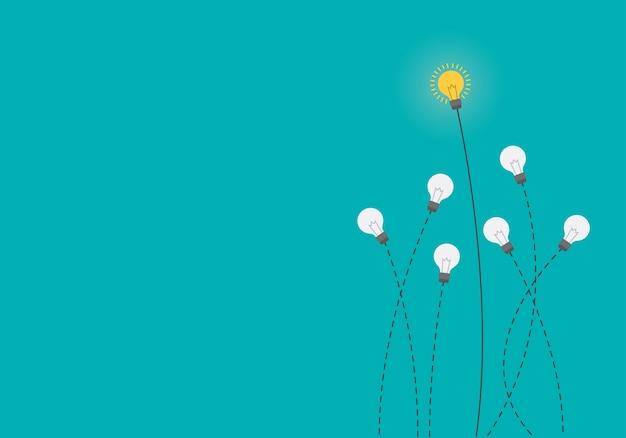 Idée lumineuse et concept d'insight avec ampoule.