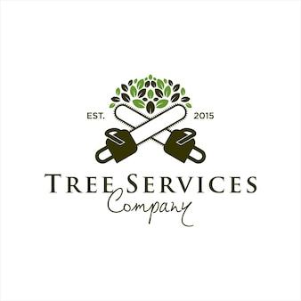 Idée de modèle de conception de logo de service d'arbre