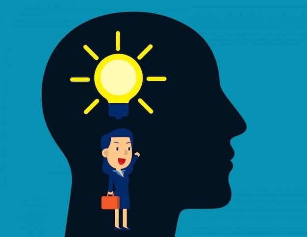 Idée de pensée d'homme d'affaires. ampoule, créatif, style de personnage enfant