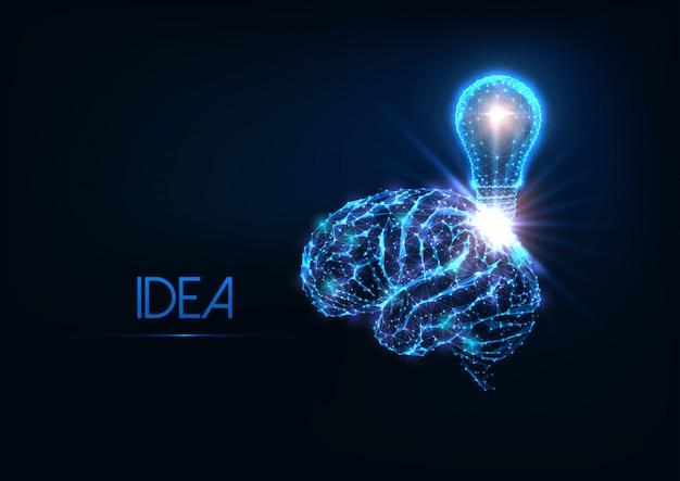 Idée polygonale rougeoyante futuriste, remue-méninges avec le cerveau humain et l'ampoule électrique